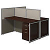 60W Two Person Straight Desk Open Office with Mobile File Cabinets