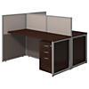 60W 2 Person Straight Desk Open Office with 3 Drawer Mobile Pedestals