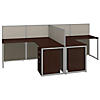 60W Two Person L Shaped Desk Open Office with Mobile File Cabinets
