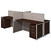 60W 4 Person Straight Desk Open Office with 3 Drawer Mobile Pedestals
