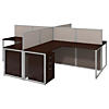 60W 4 Person L Desk Open Office with 3 Drawer Mobile Pedestals