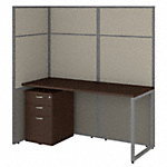 60W Desk with 66H Open Cubicle Panel and File Cabinet