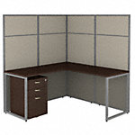 60W L Shaped Desk with 66H Cubicle Panel and File Cabinet
