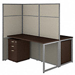 60W 2 Person Desk with 66H Cubicle Panel and File Cabinets
