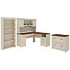 L Shaped Desk with Hutch, Bookcase and Lateral File Cabinet