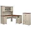 60W L Shaped Desk with Hutch and Storage Cabinet with Drawer