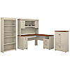 60W L Shaped Desk with Hutch, Storage Cabinet and 5 Shelf Bookcase