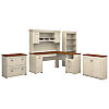 60W L Shaped Desk with Hutch, Storage Cabinets and 5 Shelf Bookcase