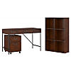 48W Writing Desk, 2 Drawer Mobile Pedestal, and 6 Cube Bookcase