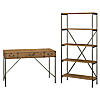 48W Writing Desk with Drawers and 5 Shelf Etagere Bookcase