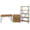 48W Writing Desk with Lateral File Cabinet and Bookcase