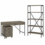 48W Writing Desk with Mobile File Cabinet and 5 Shelf Bookcase