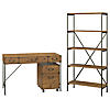 48W Writing Desk with Mobile File Cabinet and Bookcase
