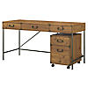 60W Writing Desk with 2 Drawer Mobile File Cabinet
