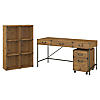 60W Writing Desk with 6 Cube Organizer and Mobile File Cabinet