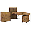 60W Writing Desk with File Cabinets and Bookcase