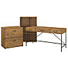 60W Writing Desk with 6 Cube Organizer and Lateral File Cabinet