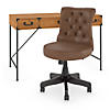 48W Writing Desk with Drawers and Mid Back Tufted Office Chair