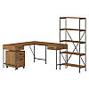 60W L Shaped Writing Desk with Mobile File Cabinet and Bookcase