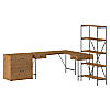 60W L Shaped Writing Desk with Lateral File Cabinet and Bookcase