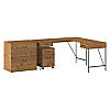 60W L Shaped Writing Desk with File Cabinets