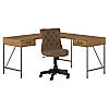 60W L Shaped Writing Desk with Mid Back Tufted Office Chair