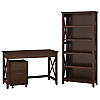 48W Writing Desk, 2 Drawer Mobile File Cabinet and 5 Shelf Bookcase