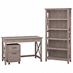 48W Writing Desk with 2 Drawer Mobile Pedestal and 5 Shelf Bookcase