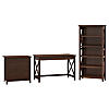 48W Writing Desk, 2 Drawer Lateral File Cabinet and 5 Shelf Bookcase