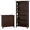 Laptop Storage Desk Credenza with 5 Shelf Bookcase