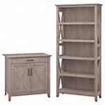 Laptop Storage Credenza with 5 Shelf Bookcase