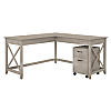60W L Shaped Desk with Mobile File Cabinet