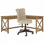 60W L Shaped Desk with Mid Back Tufted Office Chair