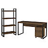 60W Writing Desk with Mobile File Cabinet and Etagere Bookcase