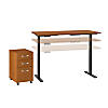 72W x 24D Height Adjustable Standing Desk with Storage