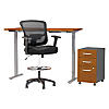 60W Height Adjustable Standing Desk with Storage and Chair