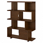 Large Geometric Etagere Bookcase with Doors