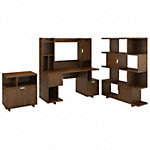 60W Computer Desk with Hutch, Lateral File Cabinet and Bookcase