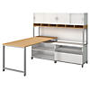 72W x 30D Desk with Open and Closed Storage, 72W Hutch on Riser