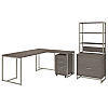 72W L Shaped Desk with 30W Return, File Cabinets and Hutch