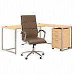 72W L Shaped Desk with Chair and Mobile File Cabinet