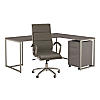 72W L Desk with Mobile File Cabinet and High Back Chair