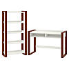 48W x 24D Writing Desk with 5 Shelf Etagere Bookcase