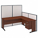 72W C Leg L Shaped Desk with 3/4 Pedestal and ProPanels