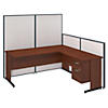 72W C-Leg L-Desk with Panels and 3/4 Pedestal