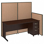 72W C-Leg Desk with Panels and 3 Drawer Mobile Pedestal