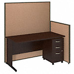 60W C-Leg Desk with Panels and 3 Drawer Mobile Pedestal