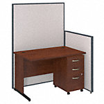 48W C-Leg Desk with Panels and 3 Drawer Mobile Pedestal