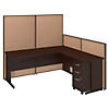 72W C Leg L Shaped Desk and 3 Drawer Mobile Pedestal with ProPanels