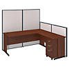 72W C-Leg L-Desk with Panels and 3 Drawer Mobile Pedestal